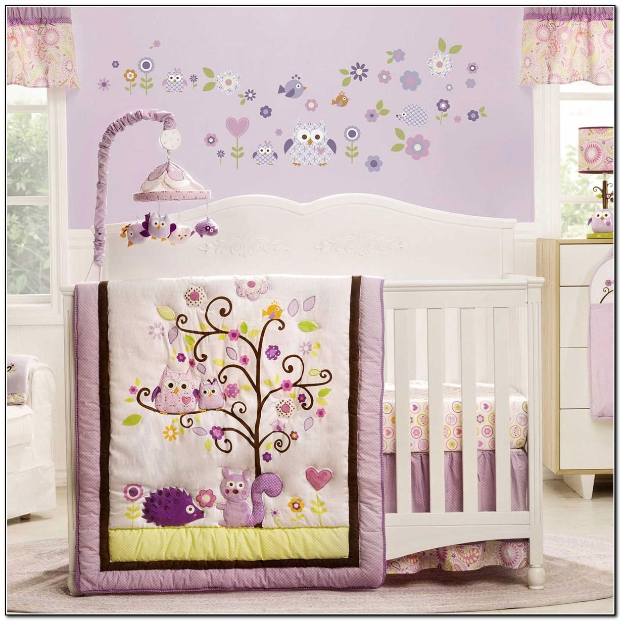 Purple Owl Nursery Bedding