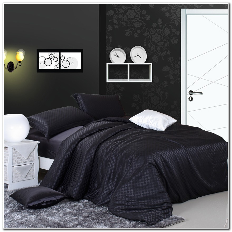 Silk Bed Sheets Black