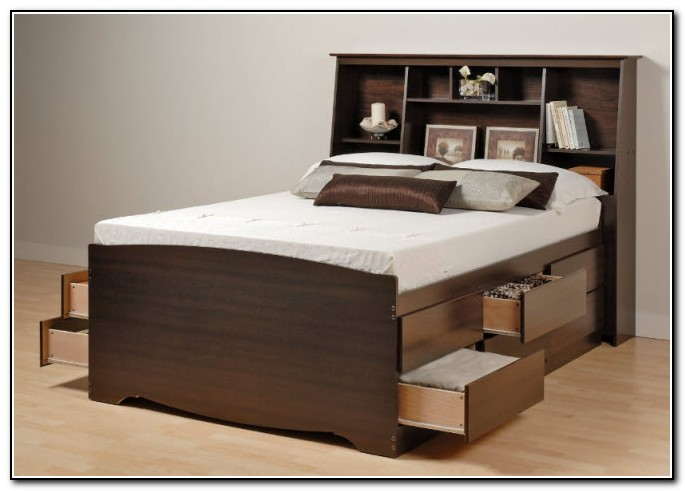 Tall Bed Frame With Drawers