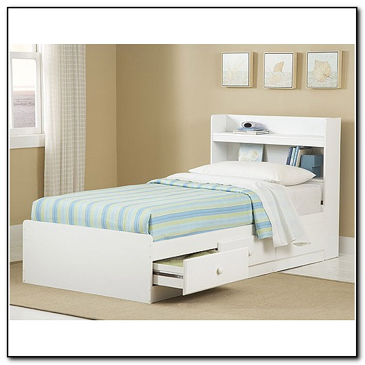Twin Beds With Storage Headboard