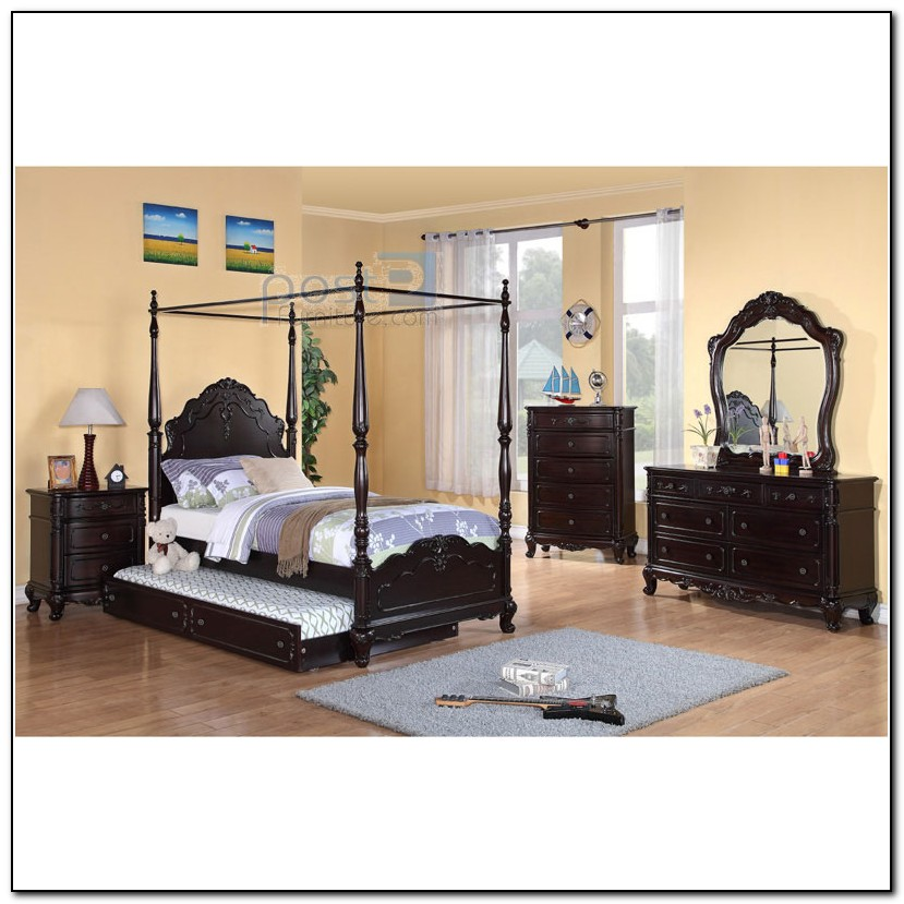 Twin Canopy Bed With Trundle