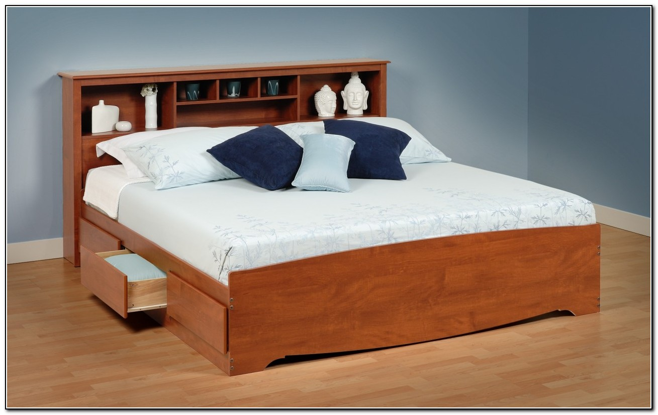 White Full Size Storage Bed