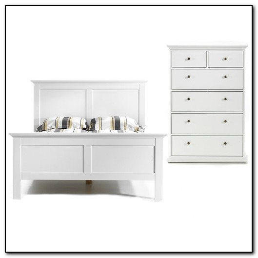 White Queen Bed With Drawers