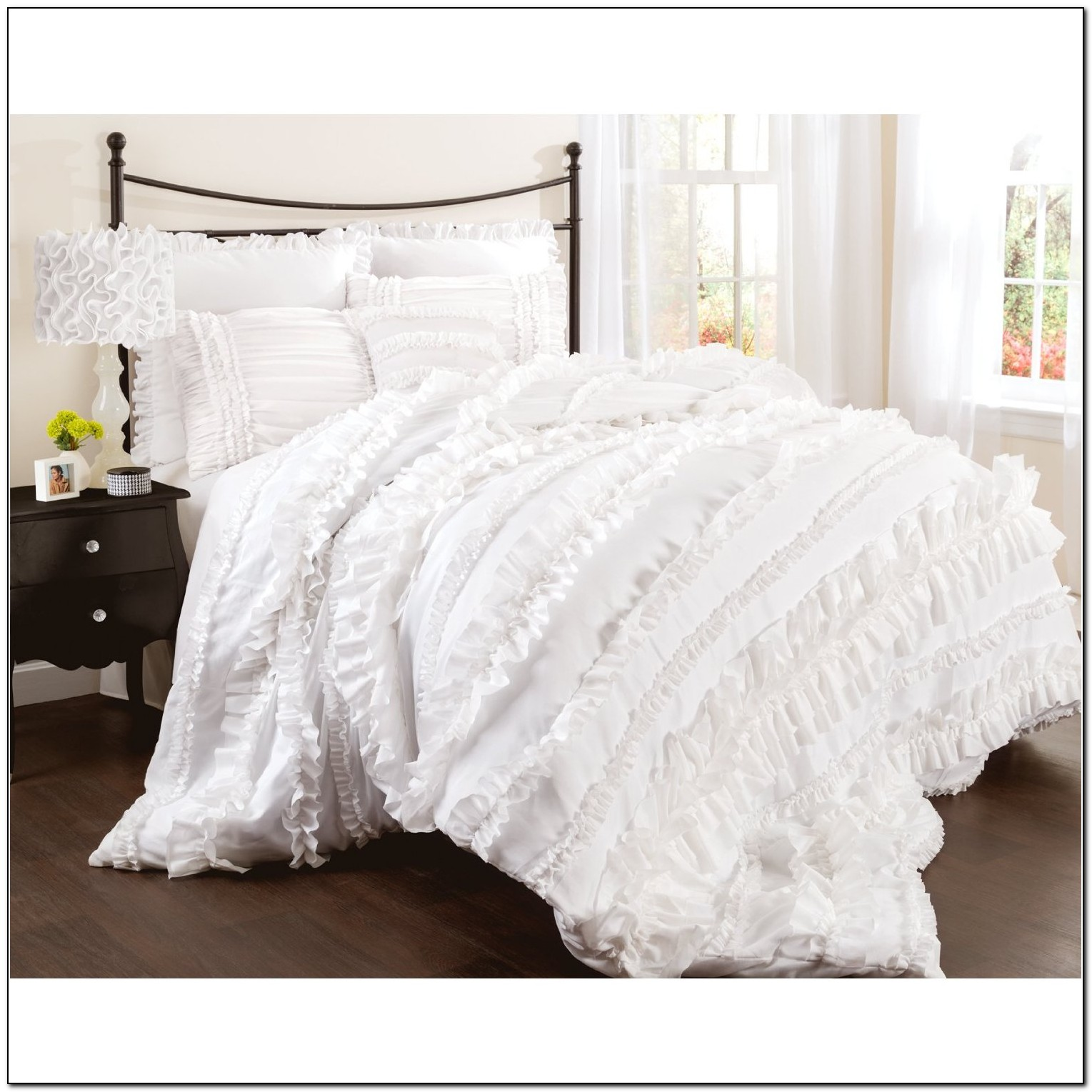 White Ruffle Bedding Queen