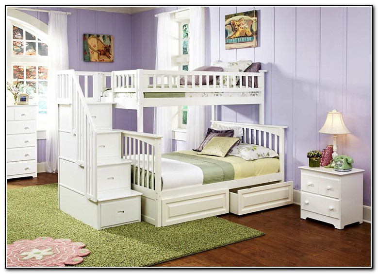 White Twin Full Bunk Bed