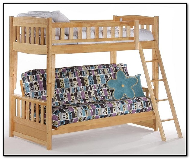 Wood Bunk Bed With Futon