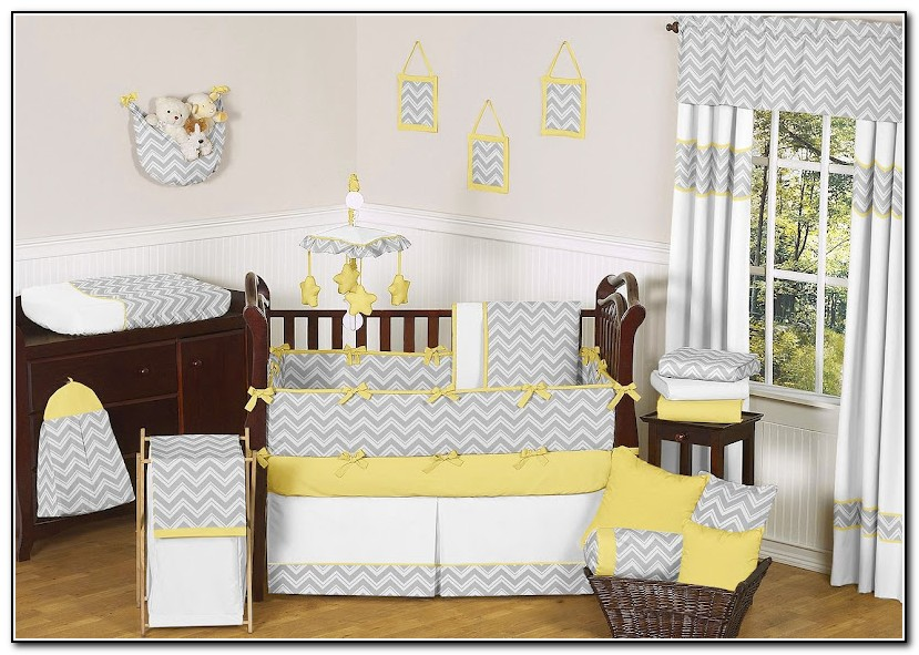 Yellow And Gray Giraffe Baby Bedding