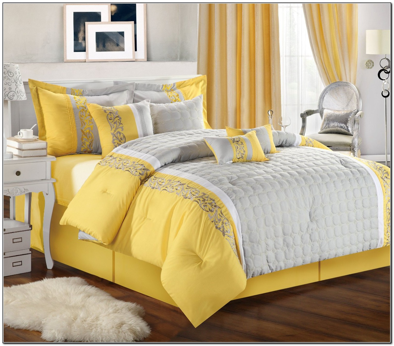 Yellow Gray And White Bedding