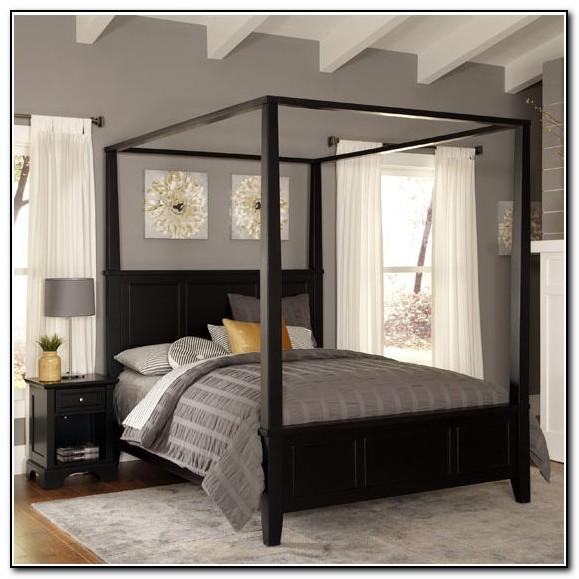 Black Canopy Bed Set