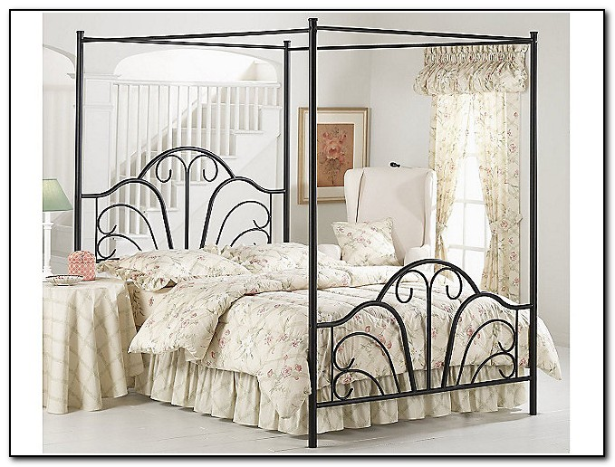 Black Metal Canopy Bed Frame