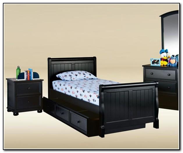 Dark Wood Twin Sleigh Bed