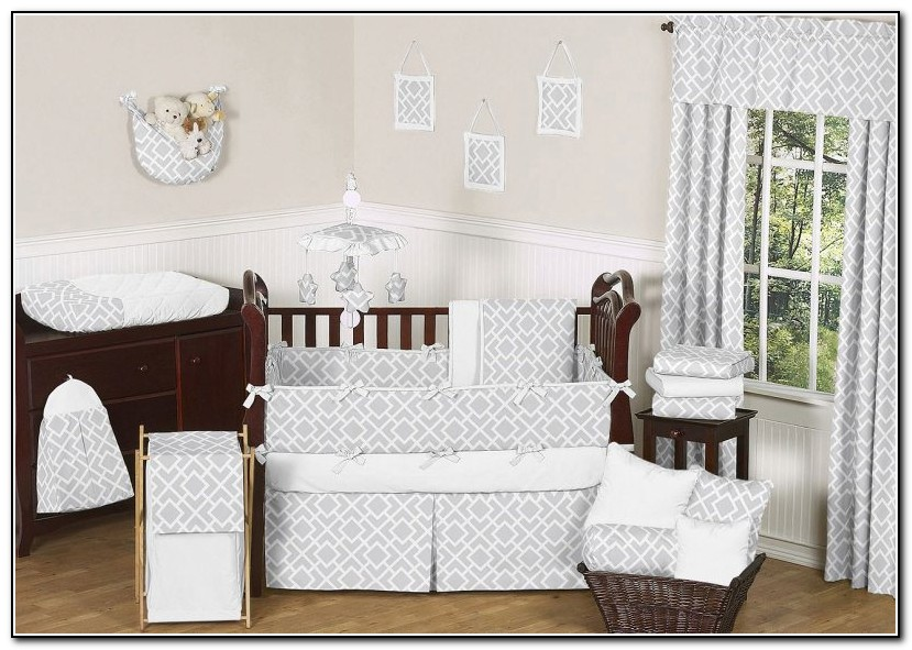 Grey And White Crib Bedding