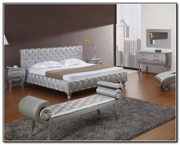 Lunar Silver Metal Platform Bed