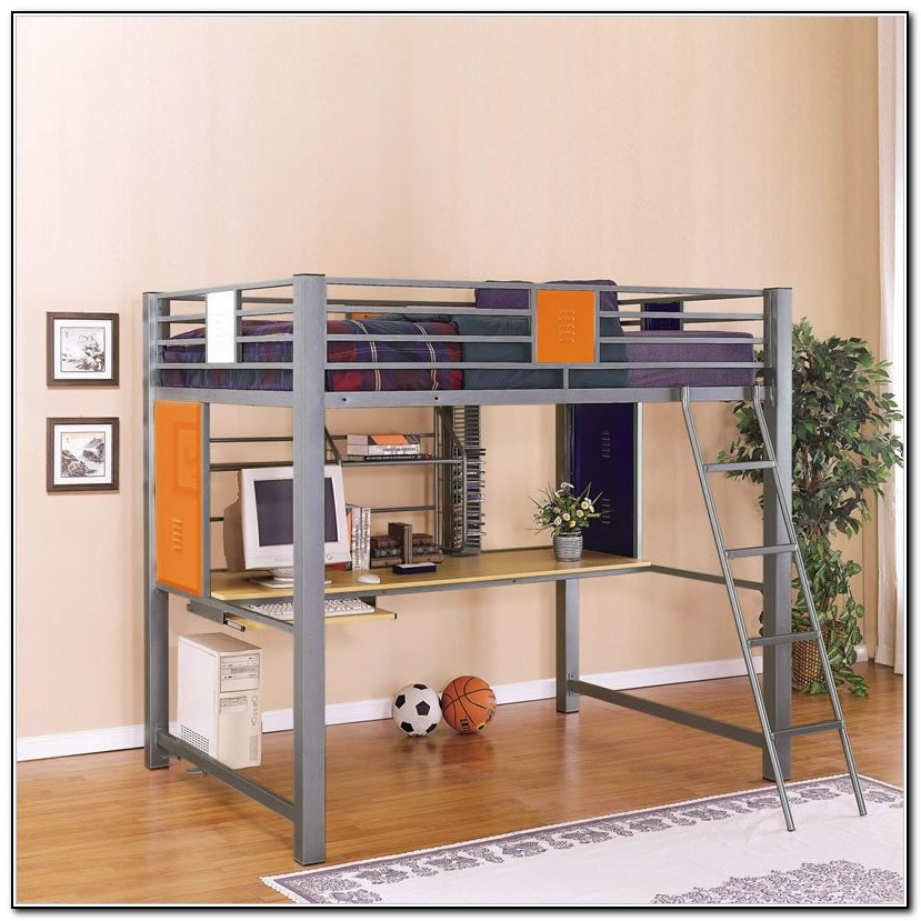 Metal Bunk Bed With Desk Underneath