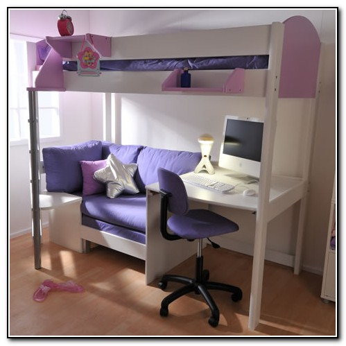 Metal Loft Bed With Desk And Futon Chair