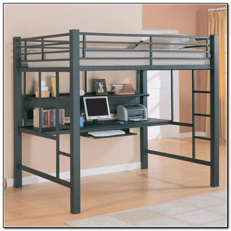 Metal Loft Bed With Desk
