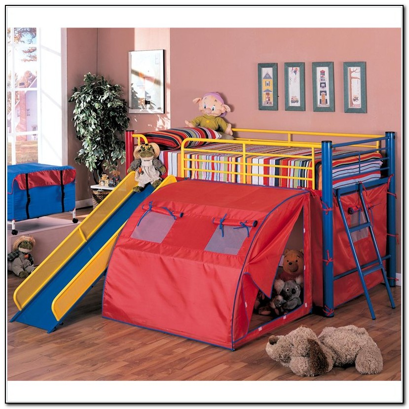 Metal Loft Bed With Slide And Tent
