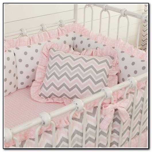 Pink And Grey Baby Bedding Chevron