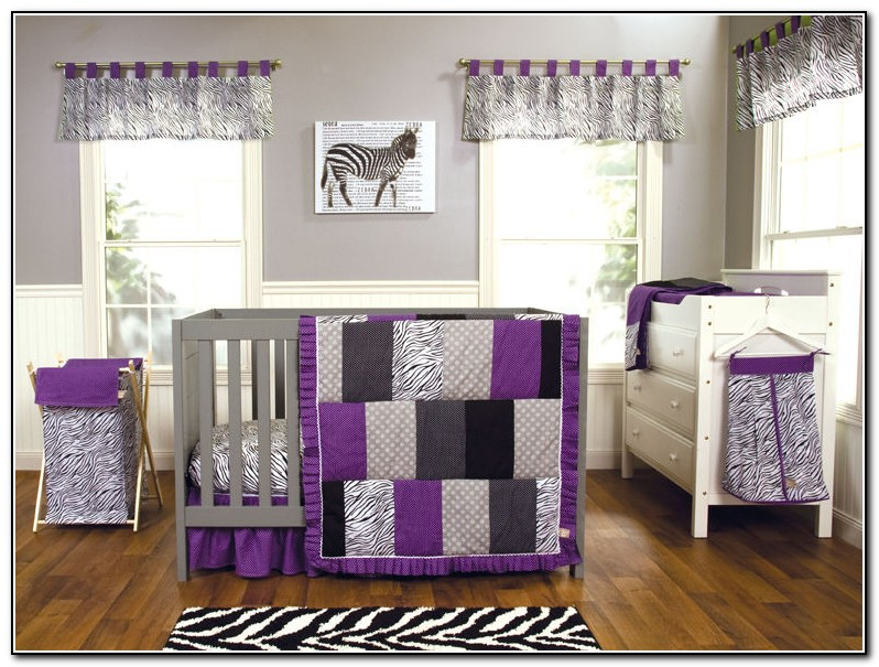 Purple Zebra Crib Bedding