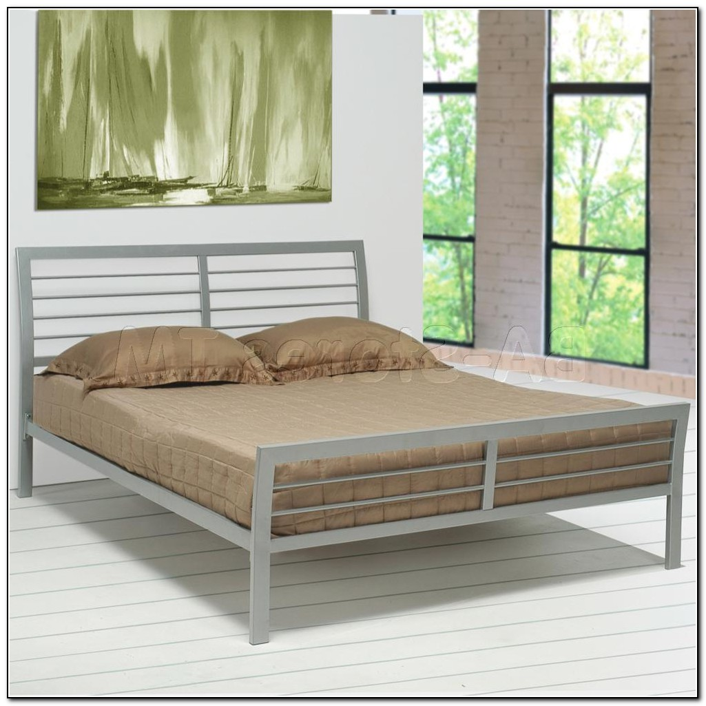 Silver Metal Platform Bed