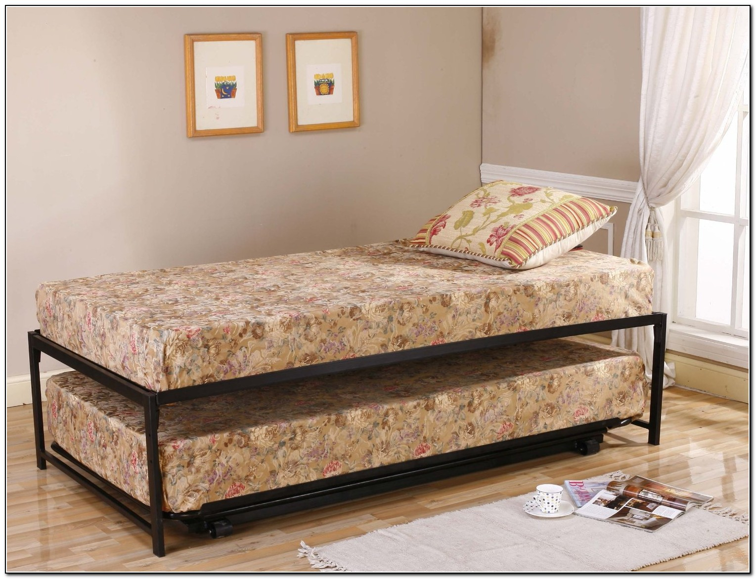 Twin Metal Bed Frame With Trundle