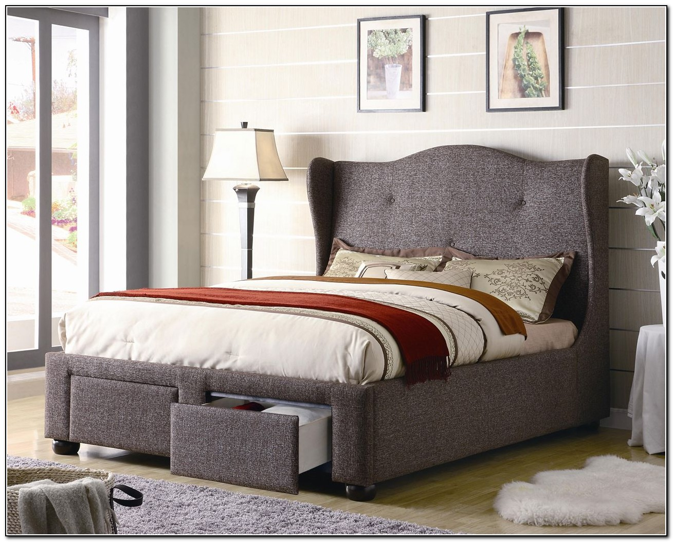 Upholstered Queen Bed With Drawers