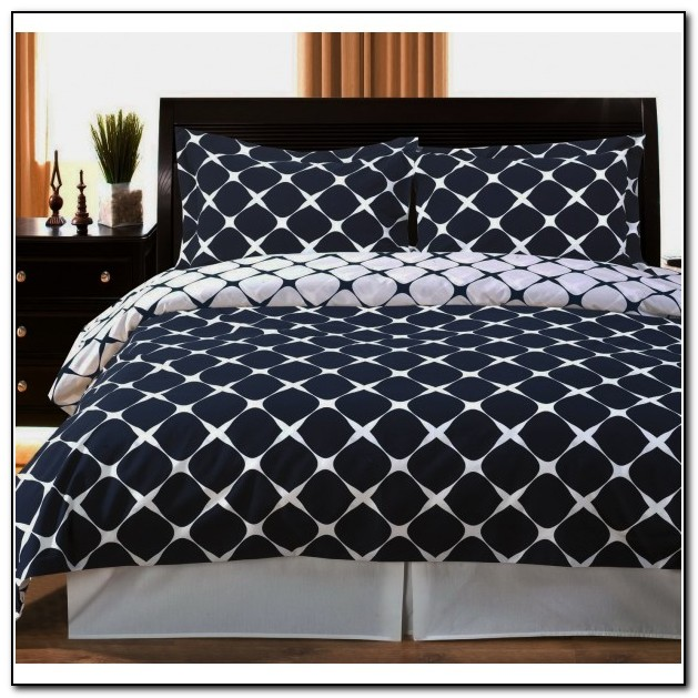 White And Navy Blue Bedding