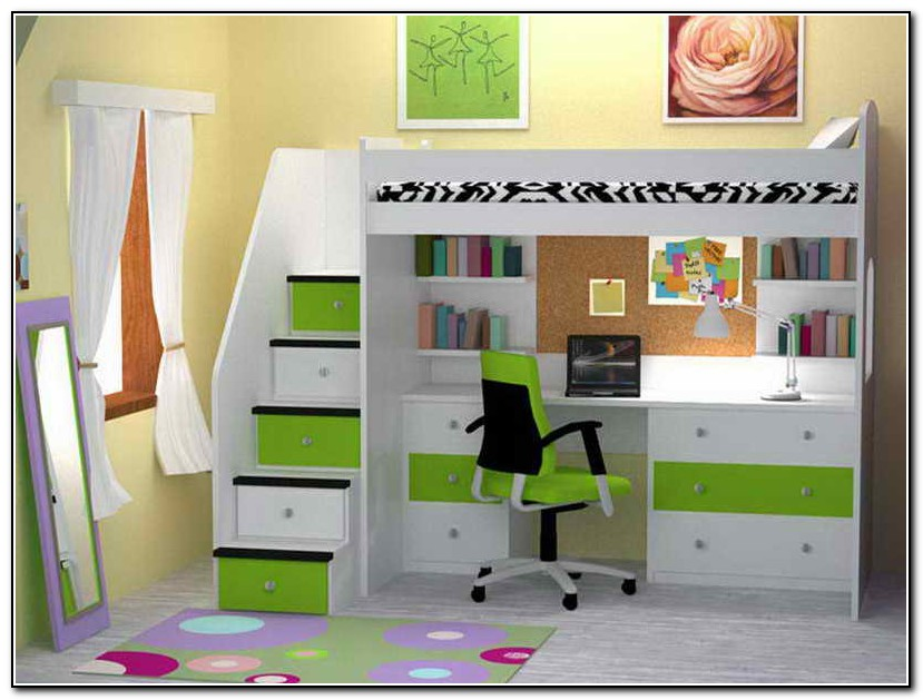 White Bunk Bed With Desk Underneath