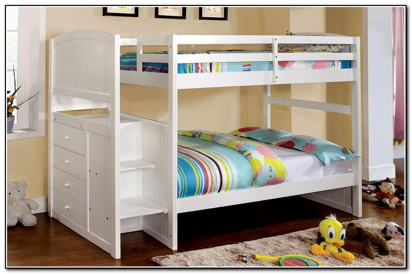 White Bunk Bed With Steps