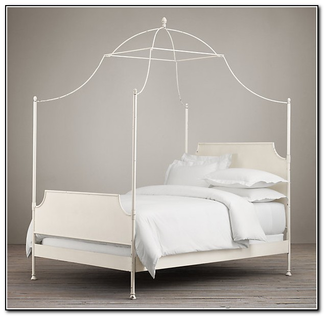 White Iron Canopy Bed
