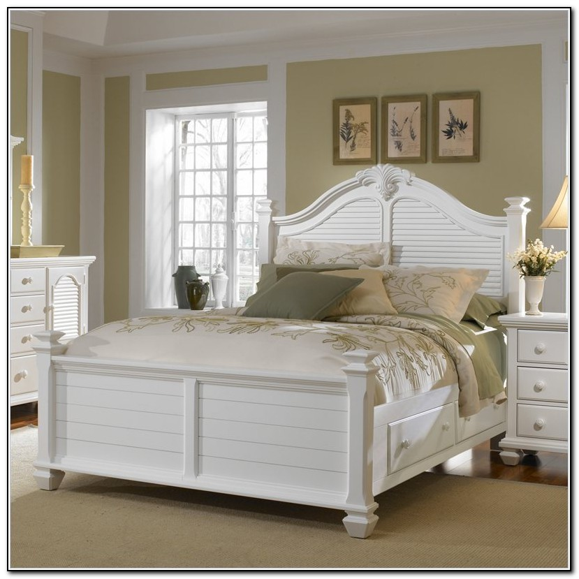 White King Size Storage Bed