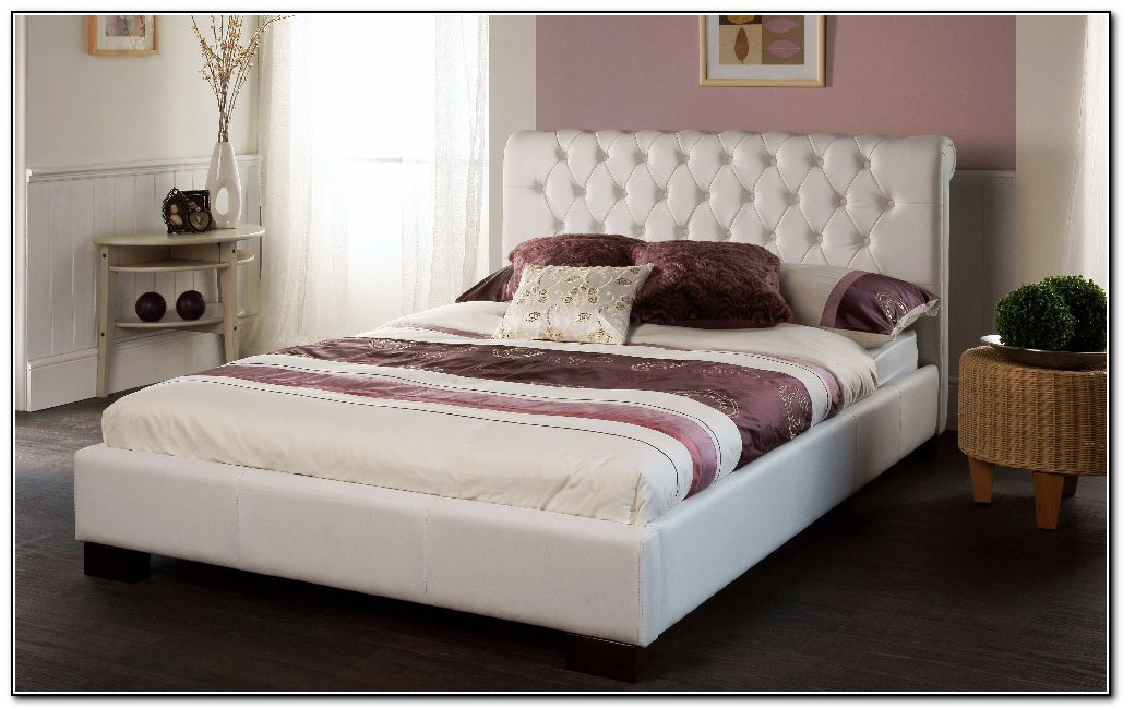 White Leather Bed King Size