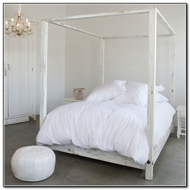 White Metal Canopy Bed