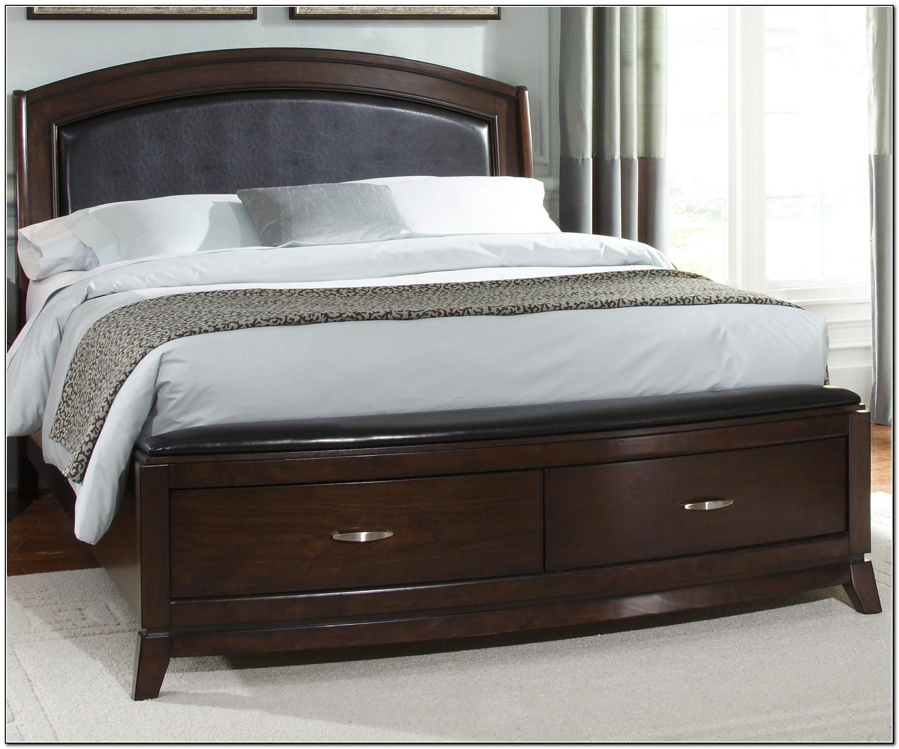 Brown Leather Platform Bed