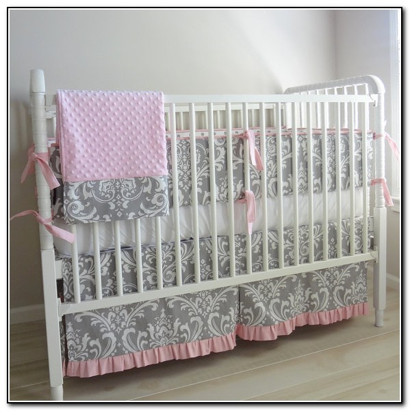Chevron Pink And Gray Baby Bedding
