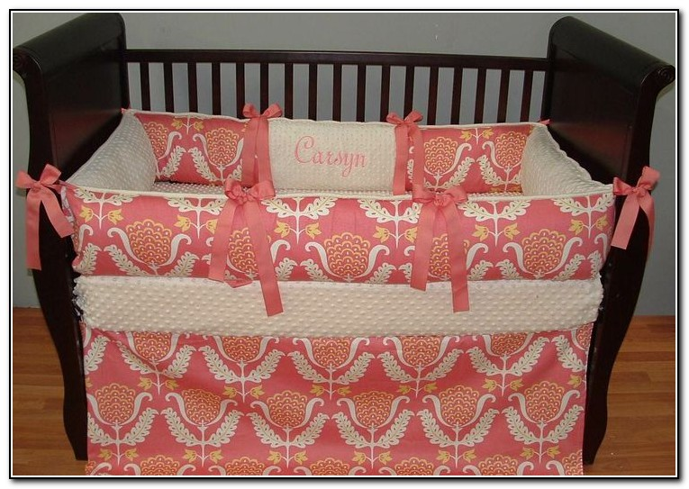Coral Paisley Baby Bedding