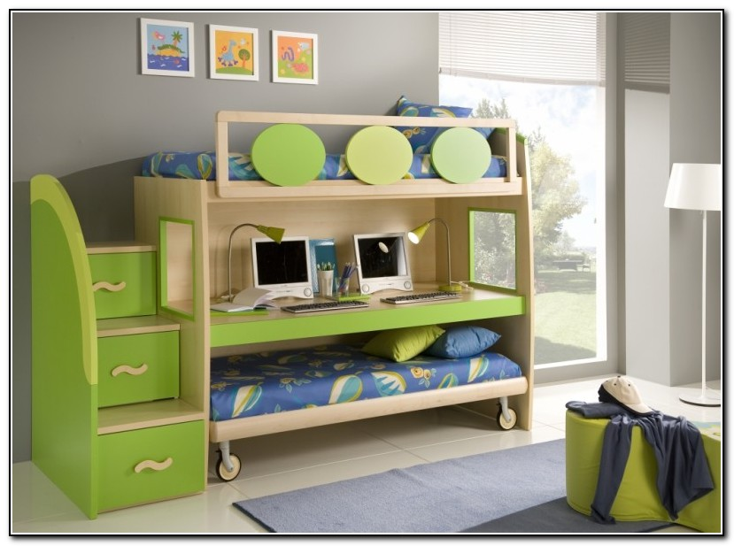 Double Loft Bed With Slide