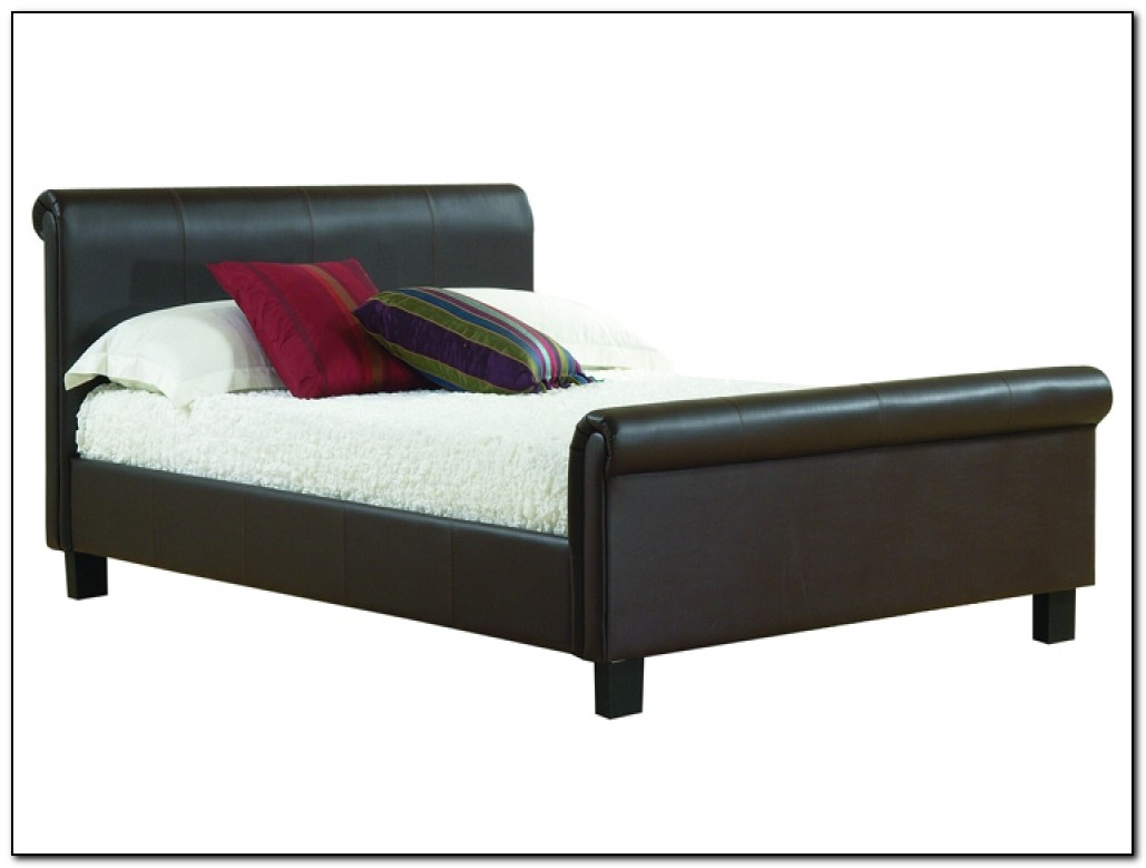 Faux Leather Sleigh Bed
