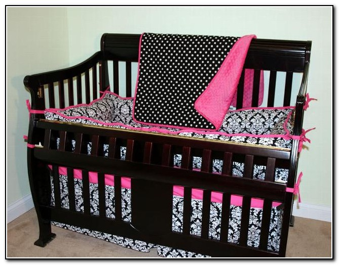 Hot Pink Black And White Baby Bedding