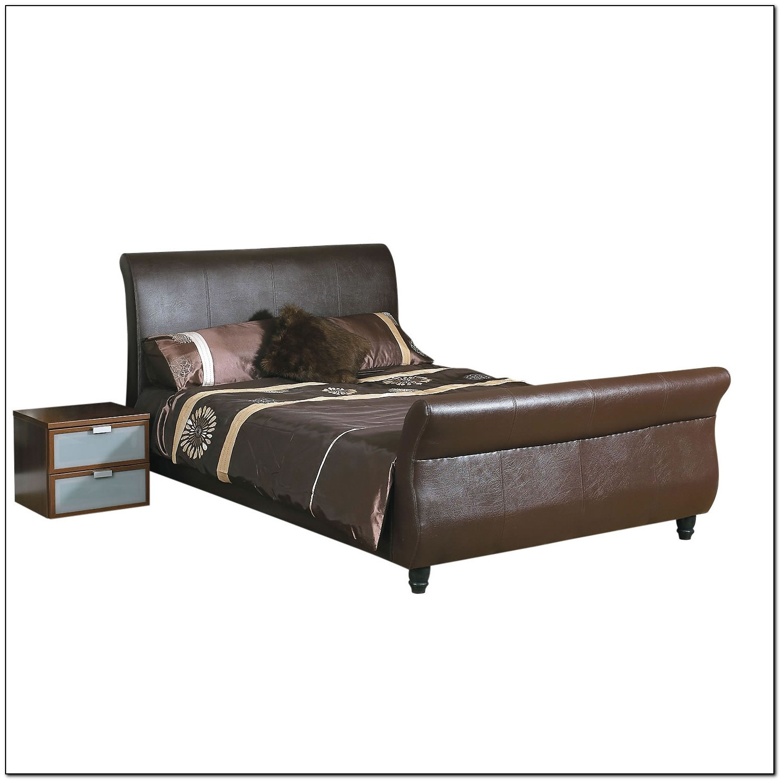 Leather Sleigh Bed Frame