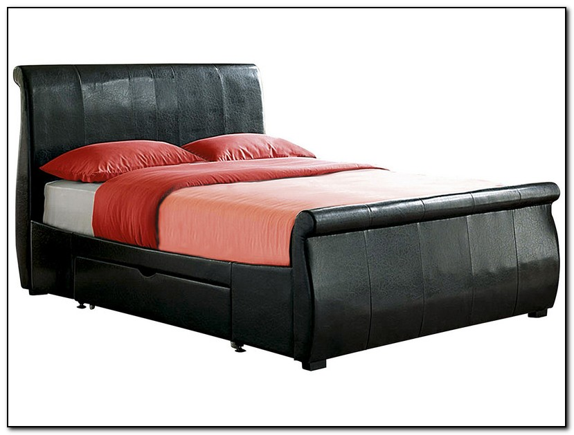 Leather Sleigh Bed With Drawers