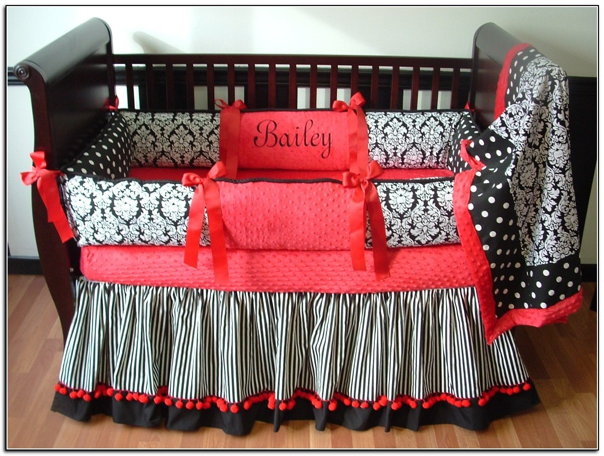 Red Black And White Baby Bedding