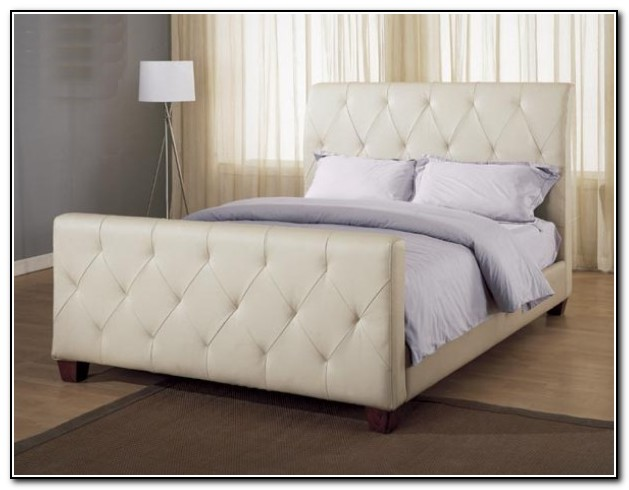 Tufted Leather Sleigh Bed