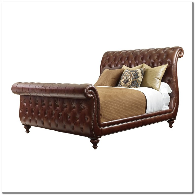 Upholstered Tufted Sleigh Bed