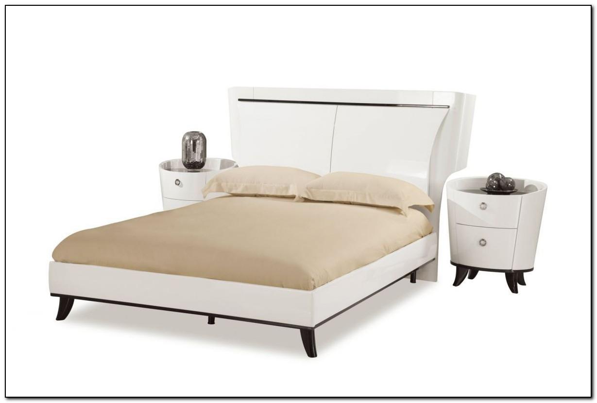 White Leather Platform Bed