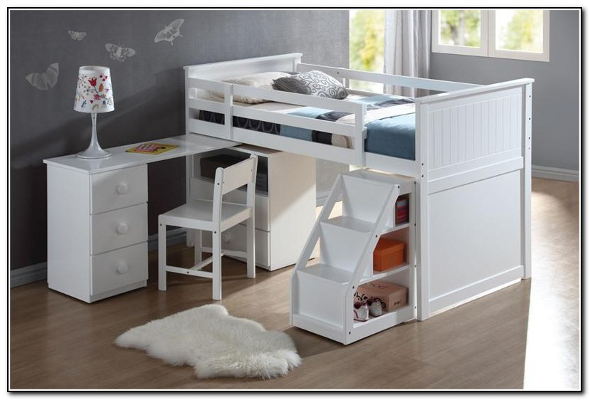 White Loft Bed With Desk Ikea