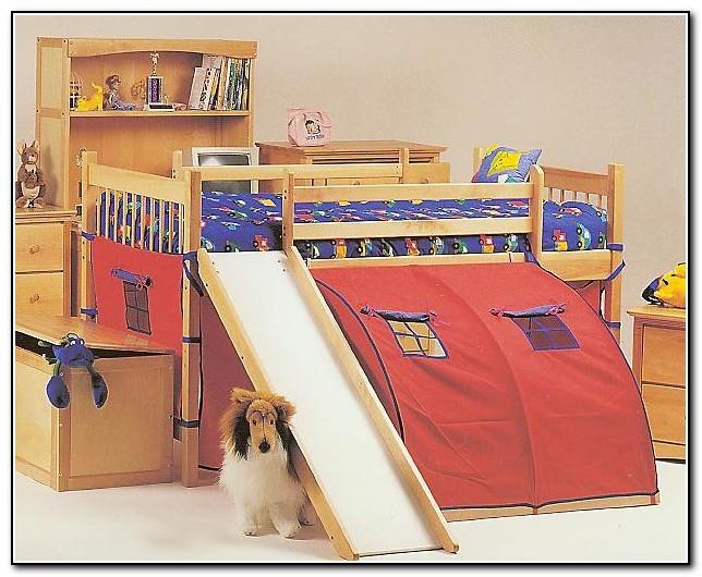 Wood Loft Bed With Slide