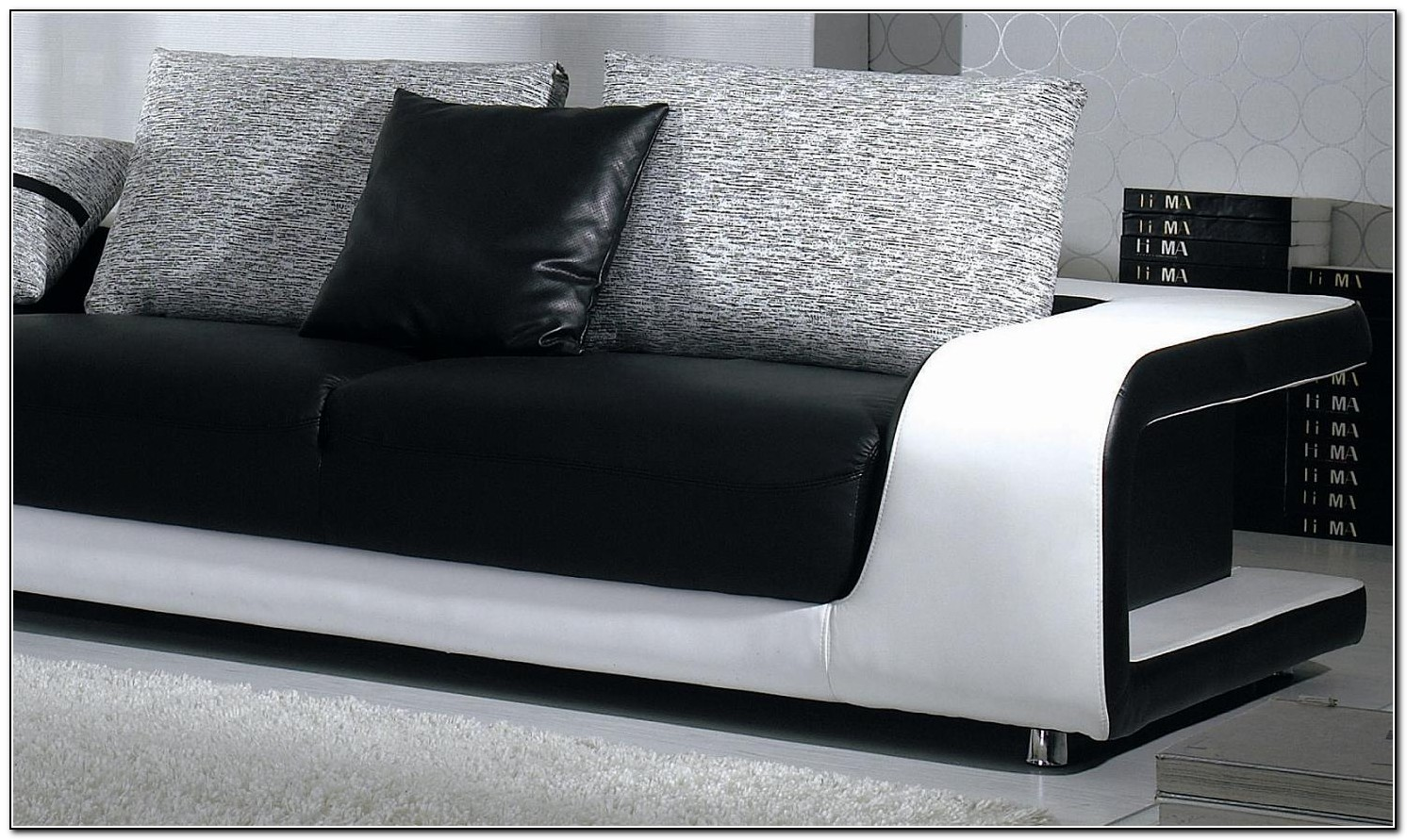 Modern Leather Sofa With Pillows