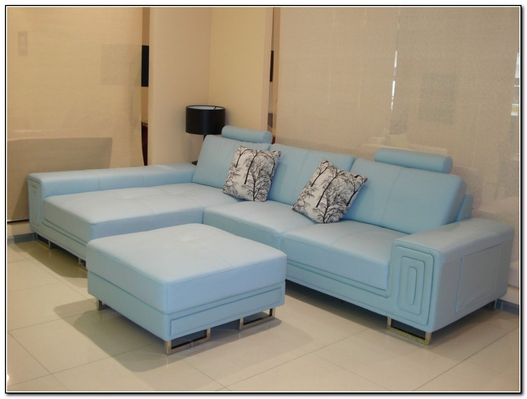 Baby Blue Leather Sofa