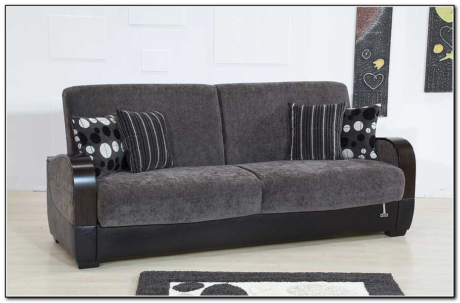 Dark Gray Leather Sofa
